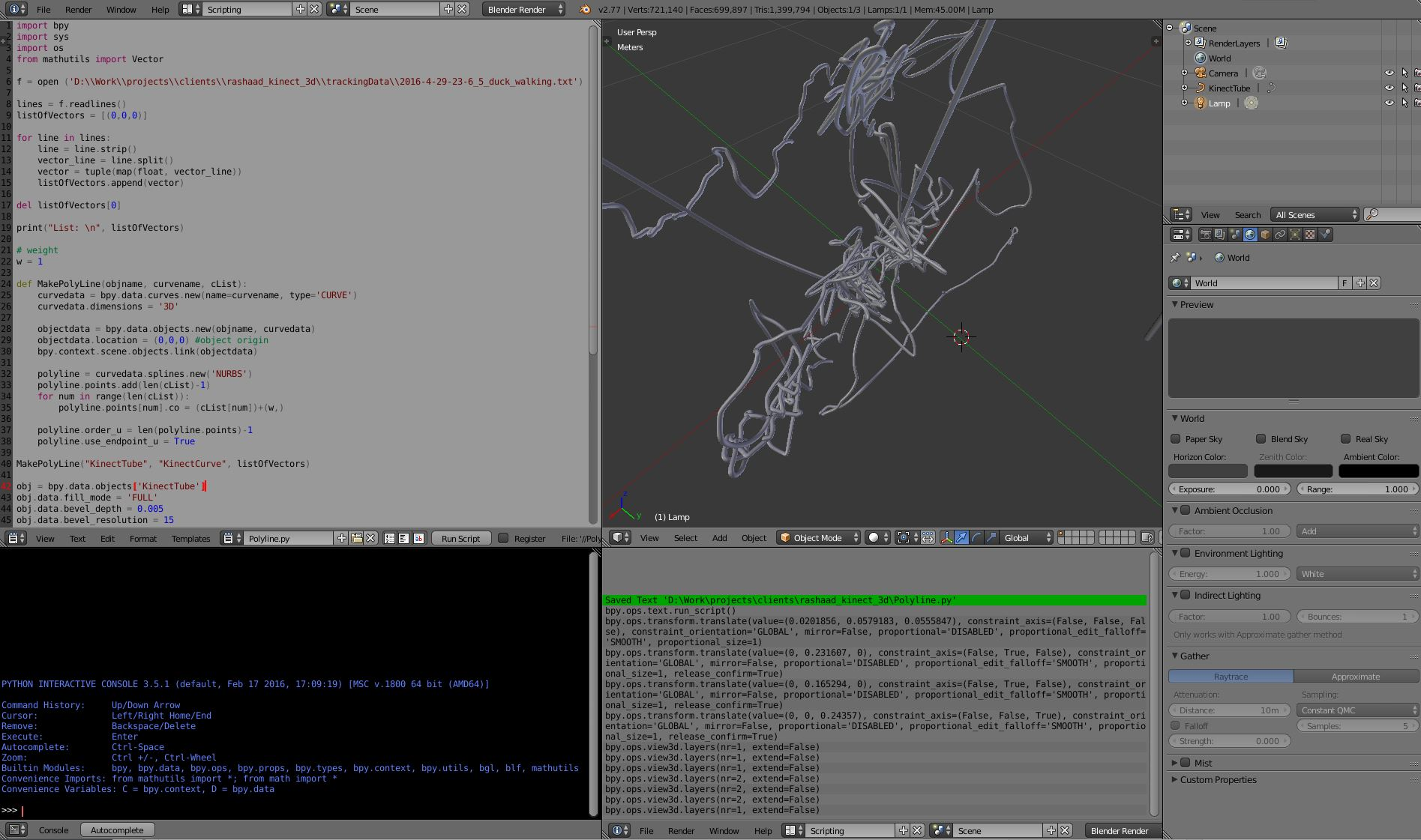 Running Python script in Blender to construct the 3D model from the captured data